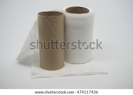 Toilet paper and empty toilet paper roll