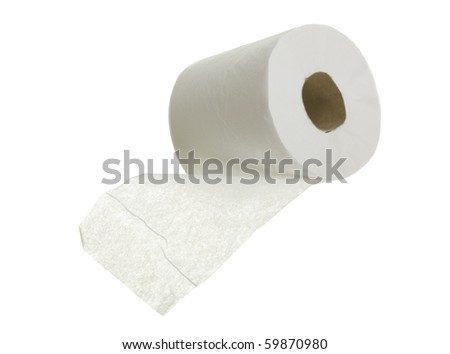 Toilet paper close up; isolated on white background