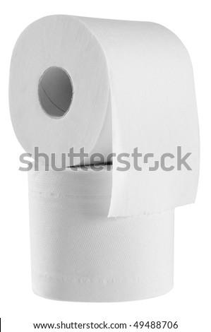 Toilet paper. Isolated - stock photo