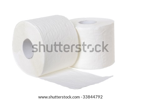 Toilet paper isolated on the white background - stock photo