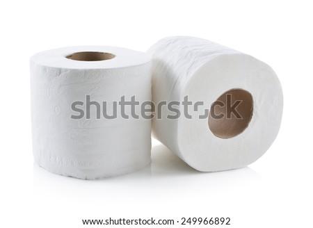 toilet paper isolated on white - stock photo