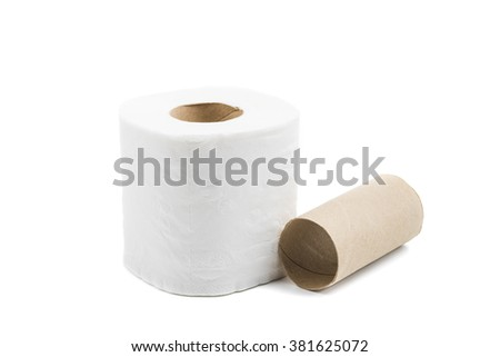 toilet paper isolated on white background - stock photo