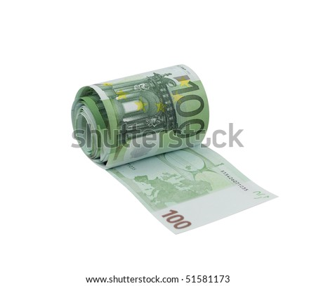 Toilet paper made from 100 euro banknotes, isolated on a white