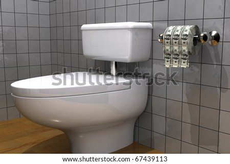 toilet paper made out of dollar bills - stock photo