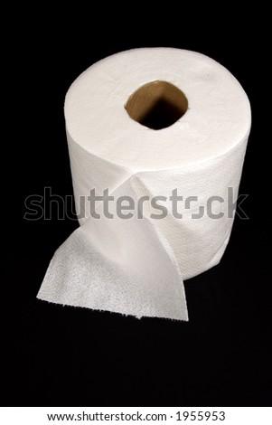 Toilet Paper on Black Background - stock photo