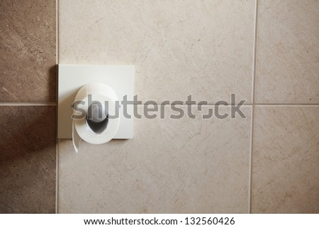 toilet paper roll hanging in bathroom with beige ceramic
