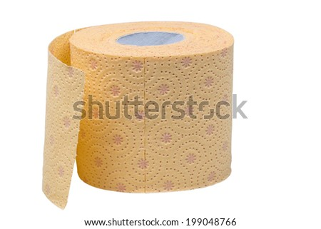 Toilet paper roll isolated over white background with clipping path - stock photo