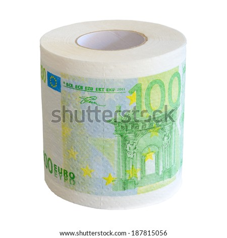 Toilet paper roll of 100 Euro bank notes isolated on white - stock photo