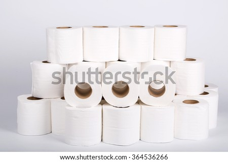 toilet paper roll with white background. - stock photo