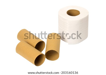 toilet paper rolls isolated on white background  - stock photo