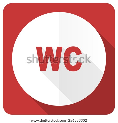 toilet red flat icon wc sign  - stock photo