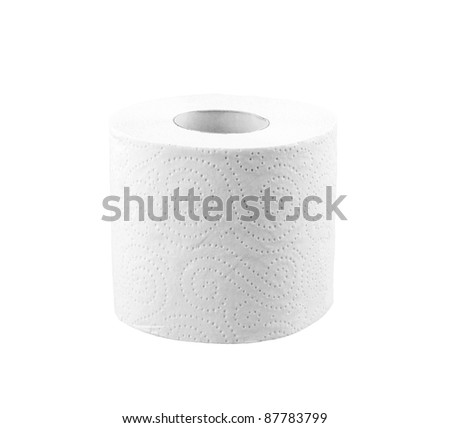 Toilet roll on white background - stock photo