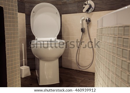 Toilet room in Scandinavian style, decorated with white built-in lavatory pan, hygienic shower and white brush for cleaning
