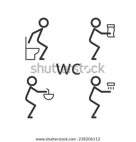 Toilet situation icon Isolated on a white background - stock photo