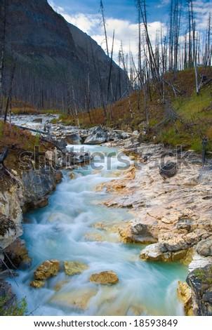 Tokumm Creek before plummeting into Marble Canyon in Kootenay National Park - stock photo