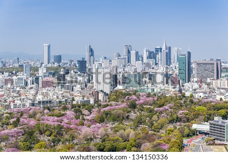 TOKYO -APR 4: With over 35 million people, Tokyo is the world's most populous metropolis and is described as one of the three command centers for world economy April 4, 2013 in Tokyo, Japan. - stock photo