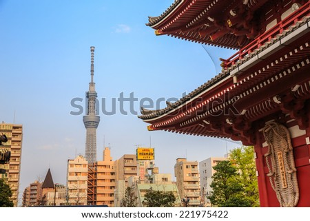 TOKYO-APRIL10: Tokyo Sky Tree view from Senso-ji Temple on April 10, 2014 in Tokyo,Japan. It is the second tallest structure in the world, 634m tall, opened 2012. - stock photo