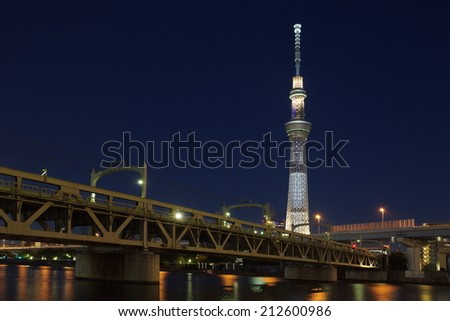 Tokyo - AUG 17 :Tokyo sky tree is the highest free-standing structure in Japan and 2nd in the world. In Summer Sky tree will be illuminate by many colorful LED light on AUG 17,2014 in Tokyo Japan  - stock photo