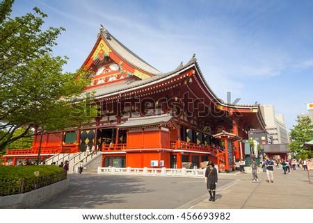 TOKYO - CIRCA JUNE, 2016: Sensoji-ji Red Japanese Temple in Asakusa, Tokyo, Japan on May 16,2016 - stock photo