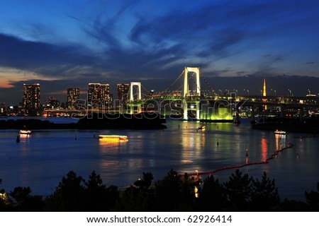Tokyo city and rainbow bridge in twilight