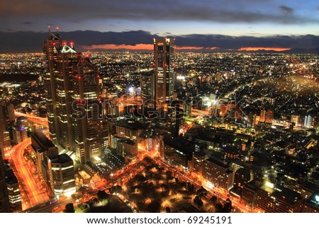 Tokyo city in twilight - stock photo