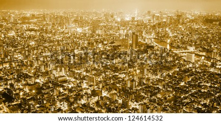 Tokyo city sky view at night in golden tone - stock photo