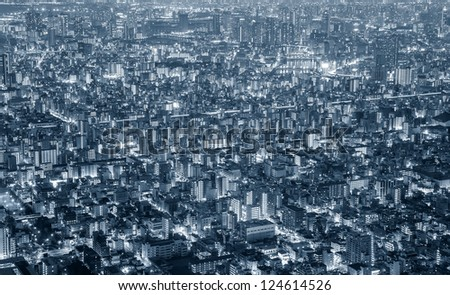 Tokyo city sky view at night in silver tone - stock photo