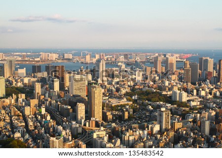 Tokyo city view from Mori Tower - stock photo