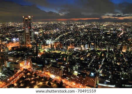 Tokyo city with Mt. Fuji at background view in twilight - stock photo