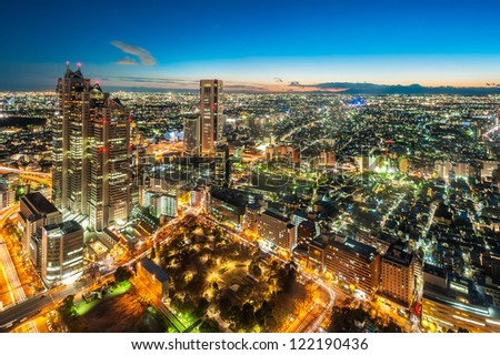 TOKYO - DEC.8: With over 35 million people, Tokyo is the world's most populous metropolis and is described as one of the three command centers for world economy December 8, 2012 in Tokyo, Japan - stock photo