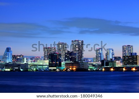 Tokyo downtown at night - stock photo