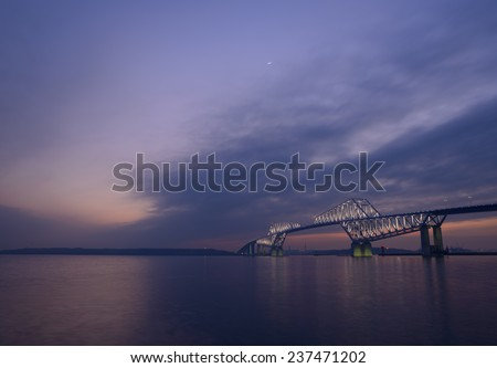 Tokyo Gate Bridge at dusk - stock photo