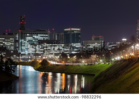 Tokyo Imperial Palace the night view of the city