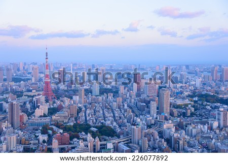 Tokyo in the twilight, direction to the Tokyo Tower and Shinagawa - stock photo