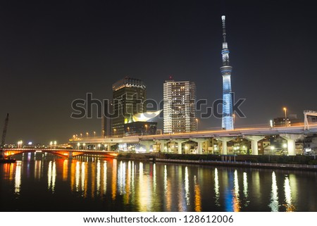 TOKYO - JAN 17: View of Tokyo Sky Tree (634m) at night, the highest free-standing structure in Japan and 2nd in the world with over 10million visitors each year, on January 17, 2013 in Tokyo, Japan - stock photo