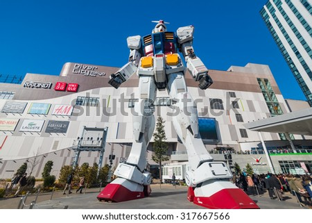 TOKYO - JANUARY 19 : Gundum Robot at DIver city department store on January 19, 2014,Odaiba,Tokyo.The robot is an important landmark of DIver city department store.
