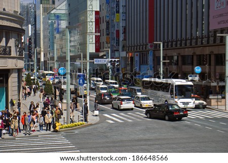 TOKYO, JAPAN - APRIL 4: Ginza at April 4, 2014 in Tokyo, Japan. Ginza is a main finacial center of Japan, it is a symbol of wealth and power.