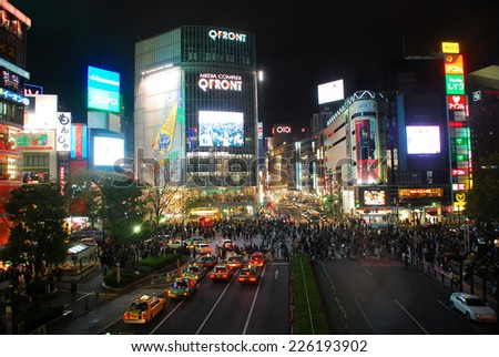 TOKYO JAPAN - APRIL 4 : Shibuya cross road taken April 4, 2007 in Tokyo, Japan. The Shibuya crossroad is the most busiest area in Japan. - stock photo