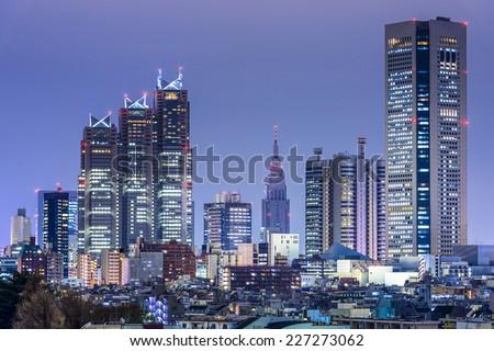 Tokyo, Japan city skyline at the West Shinjuku District skyscraper district. - stock photo