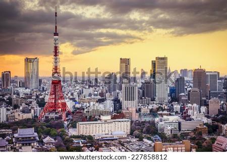 Tokyo, Japan cityscape at sunset. - stock photo