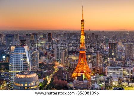 Tokyo, Japan cityscape at Tokyo Tower. - stock photo