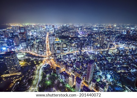 Tokyo, Japan cityscape over Roppongi Junction at night. - stock photo