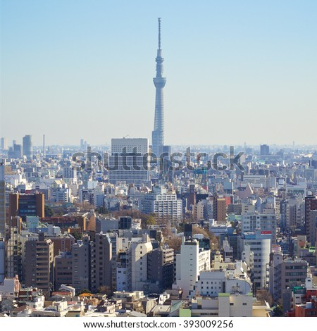 Tokyo, Japan - February 11, 2016 : cityscape of Tokyo with Tokyo Sky Tree the tallest tower in the world on February 11, 2116 at Tokyo, Japan. - stock photo