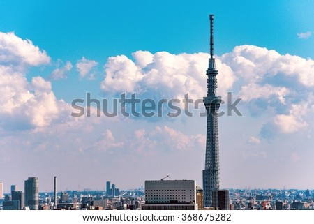 TOKYO, JAPAN - January,2016 : Tokyo Skytree is a broadcasting tower and the tallest structure in Japan.