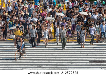 TOKYO, JAPAN - July 25, 2014: The people crossing the center of Shibuya the most important commercial center in Tokyo - stock photo
