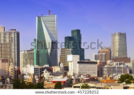 TOKYO,JAPAN- JUNE 1,2016: Tokyo cityscape, panoramic view on Tokyo downtown. - stock photo