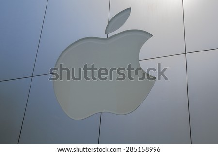 TOKYO JAPAN - MAY 8, 2015: Apple computer. Apple is an American multinational technology company headquartered in Cupertino, California, that designs, develops, and sells consumer electronics  - stock photo