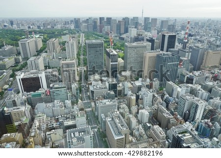 TOKYO, JAPAN -18 MAY 2016- High up view of downtown Tokyo from the Toranomon neighborhood.