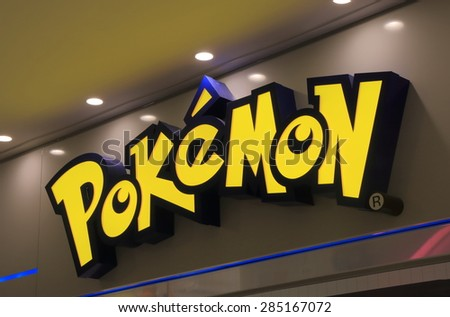 TOKYO JAPAN - MAY 9, 2015: Pokemon Japanese animation. Pokemon is a fictional creature created by Satoshi Tajiri in 1995  - stock photo