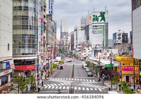 TOKYO, JAPAN -MAY 16, 2016 - Shinjuku dictrict, Tokyo. - stock photo